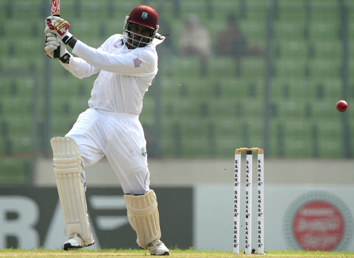 Chris Gayle hit a six on the first ball of the first over of the test match